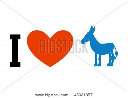 I Love Democrat. Symbol Of Heart And Donkey. Poster For Elections In Usa. Political Debate In Americ