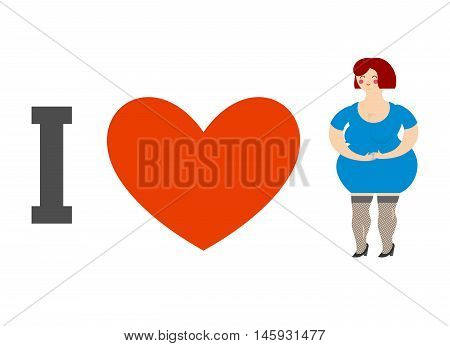 I Love Women. Heart And Fat Lady. Logo For Ladies Man