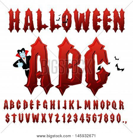 Halloween Abc. Blood Gothic Letters. Ancient Alphabet. Vintage Font. Bloody Awful Lettring For Holid
