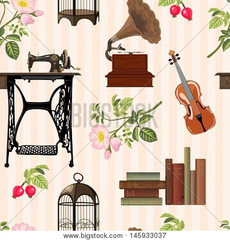 Seamless pattern with cosy vintage objects. Old sewing machine violin books birdcage gramophone wild rose on striped background. Vector illustration.