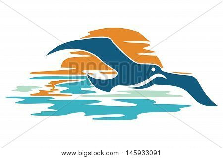 seagulls that fly at sunset, suitable for icons, app and symbol