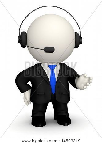 3D Customer support operator - isolated over a white background