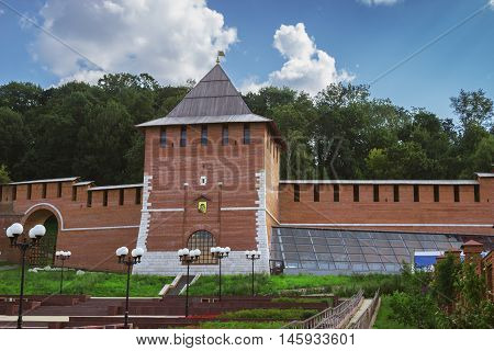 RUSSIA NIZHNY NOVGOROD - AUG 06 2014: Tower of Nizhny Novgorod Kremlin. Kremlin in Nizhny Novgorod turned 500 years. This tower was destroyed because of the landslide and recently restored