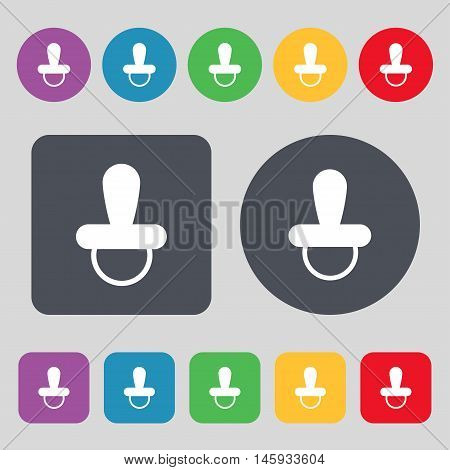 Baby Pacifier Icon Sign. A Set Of 12 Colored Buttons. Flat Design. Vector