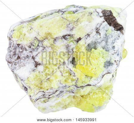 Sulfur ( Brimstone, Sulphur) Vein In Rock Isolated