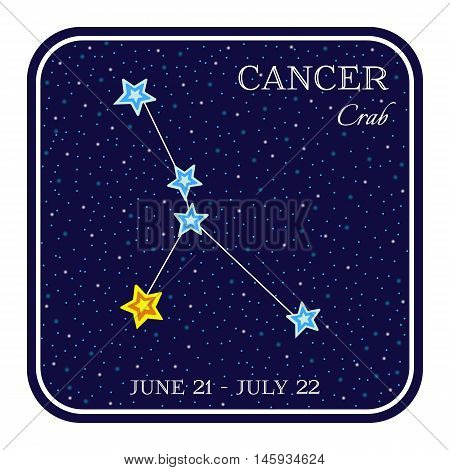 Cancer zodiac constellation in square frame, cute cartoon style vector illustration isolated on white background. Square horoscope emblem with Cancer constellation, zodiac sign name and month