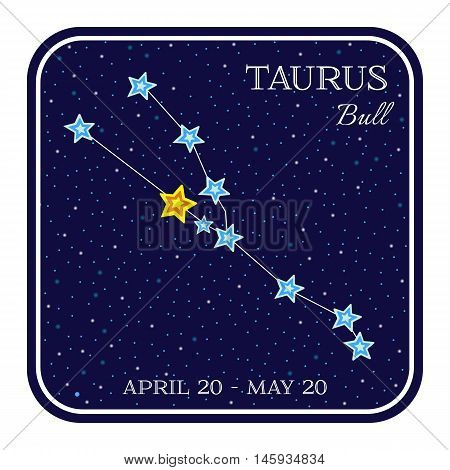 Taurus zodiac constellation in square frame, cute cartoon style vector illustration isolated on white background. Square horoscope emblem with Taurus constellation, zodiac sign name and month