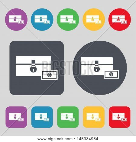 Chest Icon Sign. A Set Of 12 Colored Buttons. Flat Design. Vector