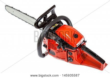 Gasoline chain saw isolated on a white background.