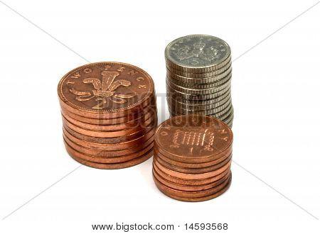 British Money Coins Stacked