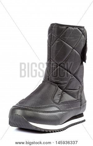 Cold winter shoes - a black boots isolated on white background.