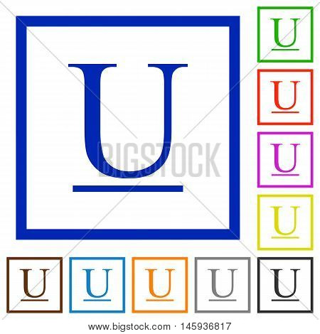 Set of color square framed Underlined font type flat icons