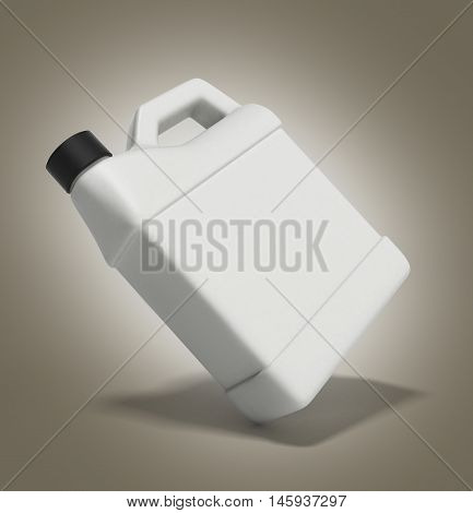 White Plastic Canister For Motor Oil Isolated On Gradient Background