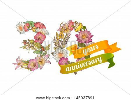 Thirty (30) years anniversary sign of floral digits