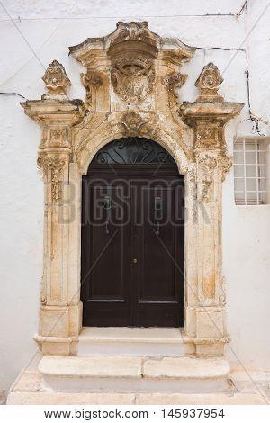 Perspective of the Ghionda Palace. Ostuni. Puglia. Italy.