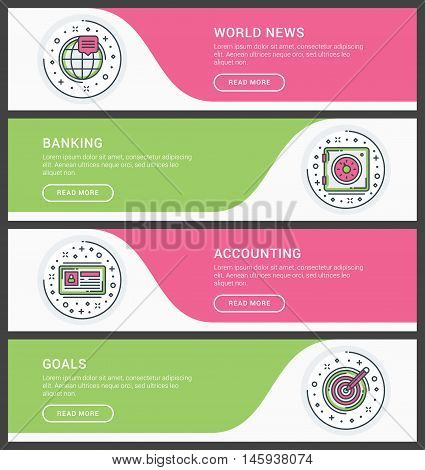 Set of flat line business website banner templates. Vector illustration. Modern thin line icons in circle. World News Banking Accounting Goals