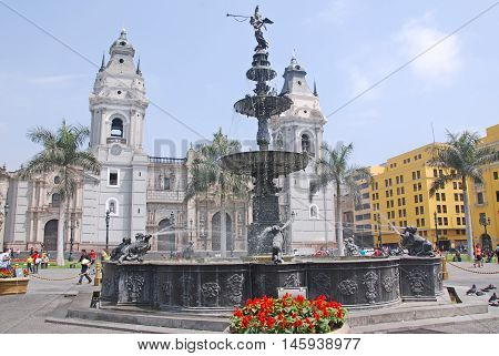 LIMA PERU NOV. 24: Government palace at Plaza de Armas on 11 24 2009 in Lima, Peru.Is the birthplace of the city of Lima, as well as the core of the city. Located in the Historic Centre of Lima.
