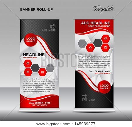 Red Roll up banner template vector, roll up stand, banner design, stand design, display, polygon background