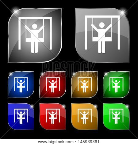 Child Swinging Icon Sign. Set Of Ten Colorful Buttons With Glare. Vector
