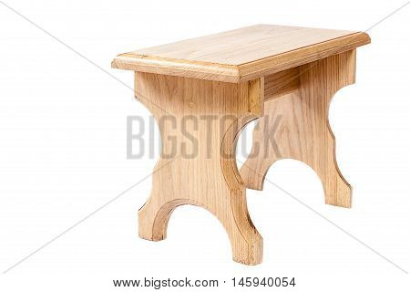 A wooden bench isolated on white background.