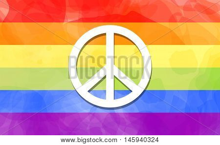 LGBT movements pride symbol sign of peace on rainbow colors freedom flag abstract watercolor painted style imitation vector background