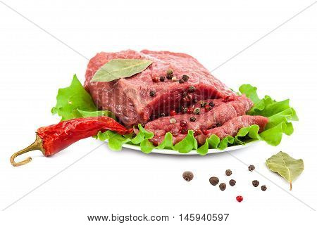 Fresh raw meat isolated on a white background.