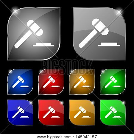 Judge Or Auction Hammer Icon Sign. Set Of Ten Colorful Buttons With Glare. Vector