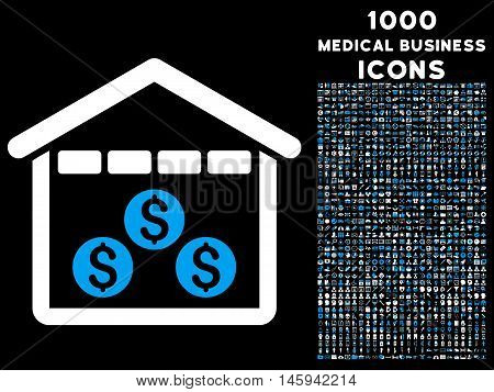 Money Depository vector bicolor icon with 1000 medical business icons. Set style is flat pictograms, blue and white colors, black background.