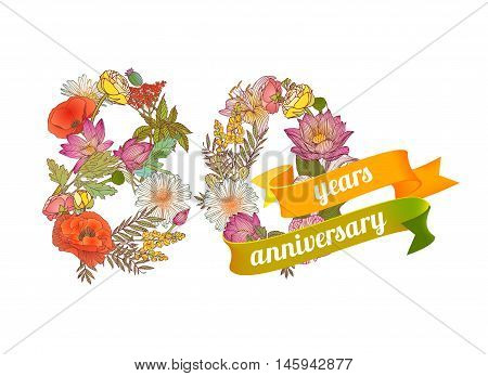eighty (80) years anniversary sign of floral digits