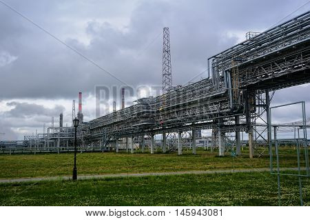 Tobolsk, Russia - July 15. 2016: Sibur company. Polymer plant. Pipes on gas-chemical complex on polypropylene production