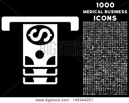 Banknotes Withdraw vector icon with 1000 medical business icons. Set style is flat pictograms, white color, black background.