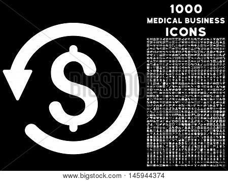 Chargeback vector icon with 1000 medical business icons. Set style is flat pictograms, white color, black background.