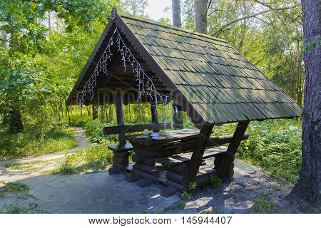 Gazebo in a private café on the nature