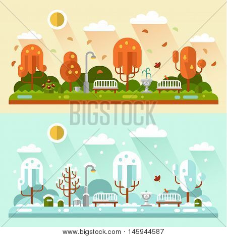 Flat design vector nature winter and autumn landscapes illustrations of park. Including bench, lantern, fountain, puddle, birds, leaf fall, snowflakes, snow, trees, bush, sun.