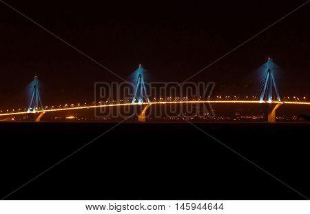 Illuminated Rio-Antirio Bridge at Night, Patras, Greece