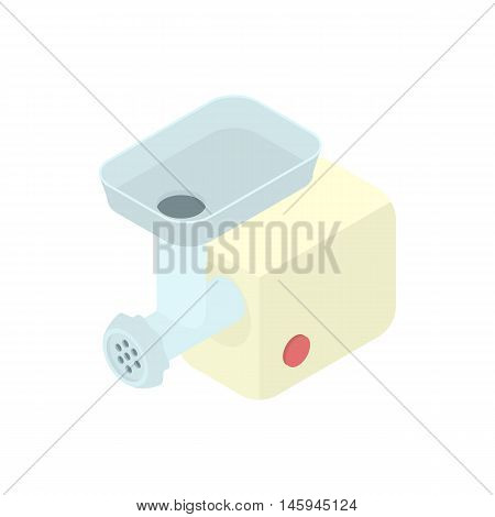 Electric meat grinder icon in cartoon style on a white background vector illustration