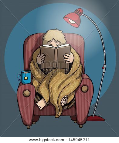 sitting with a blanket, and cup of tea, on a armchair, Reading a book, vector illustration