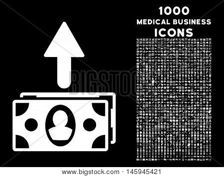 Spend Banknotes vector icon with 1000 medical business icons. Set style is flat pictograms, white color, black background.