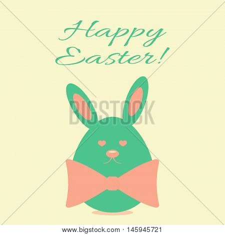 Template for postcards. Egg with rabbit ears face and bow. Text Happy Easter! Pink green.