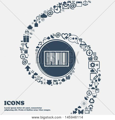 Barcode Icon In The Center. Around The Many Beautiful Symbols Twisted In A Spiral. You Can Use Each
