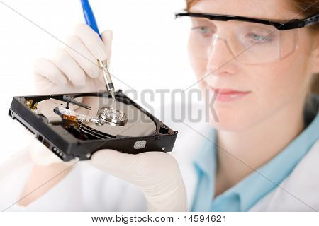 Female Computer Engineer - Woman Repair Hard Disc