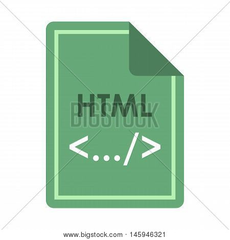File HTML icon in flat style isolated on white background. Document type symbol vector illustration