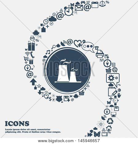 Atomic Power Station Icon In The Center. Around The Many Beautiful Symbols Twisted In A Spiral. You