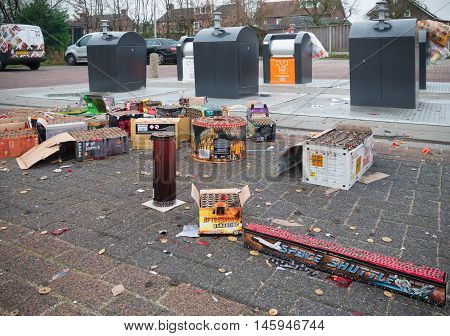 OLDENZAAL NETHERLANDS - JANUARY 1 2016: Remnants of fireworks at a waste collection point the day after the traditional new years celebration