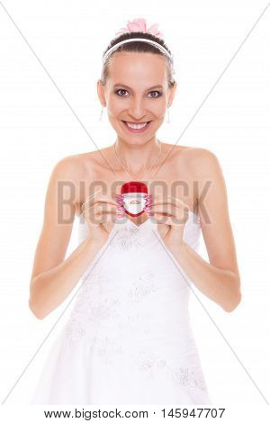 Happy Bride Woman Showing Engagement Ring Box.