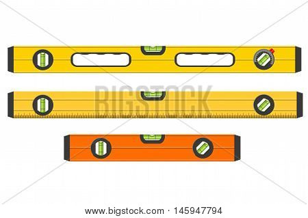 Set Of Three Spirit Levels Isolated On White Background, Realistic Vector Illustration
