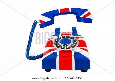 Telephone isolated on white.Union Jack telephone with pattern of British flag isolated on the white background. Union Jack telephone with the floating handset. Isolation of telephone.