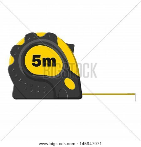 Yellow Measure Tape Isolated On White Background, Vector Illustration