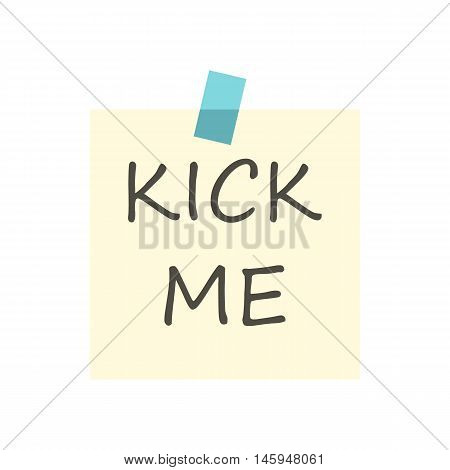 Inscription kick me icon in flat style isolated on white background. Joke symbol vector illustration