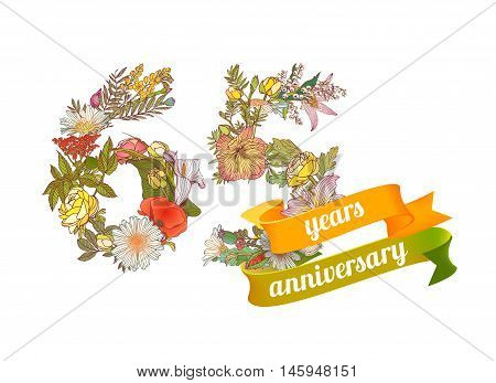 sixty five (65) years anniversary sign of floral digits
